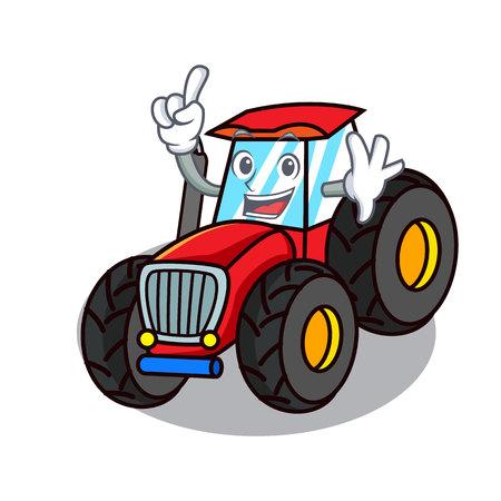Finger tractor mascot cartoon style vector illustration