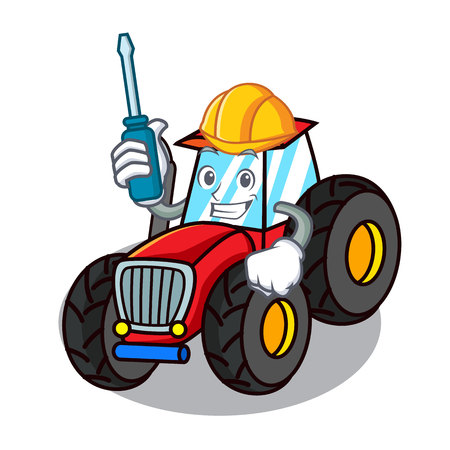 Automotive tractor mascot cartoon style vector illustration