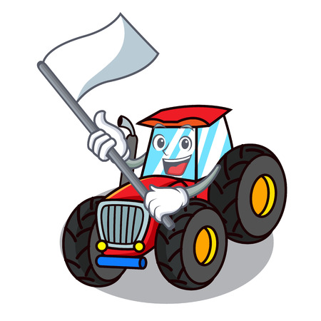 With flag tractor mascot cartoon style vector illustration