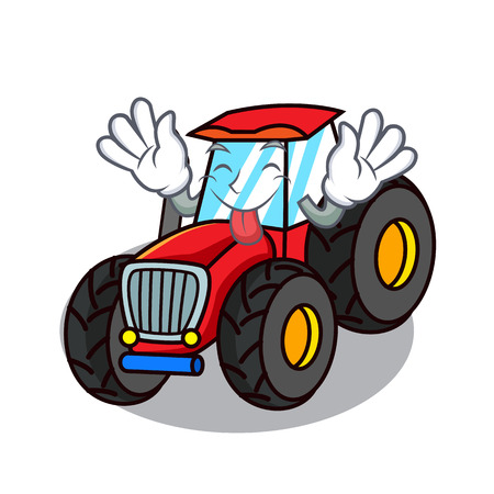 Tongue out tractor mascot cartoon style vector illustration