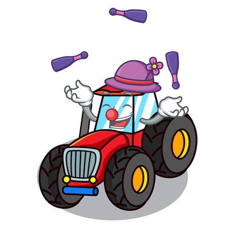 Juggling tractor mascot cartoon style vector illustration Illustration
