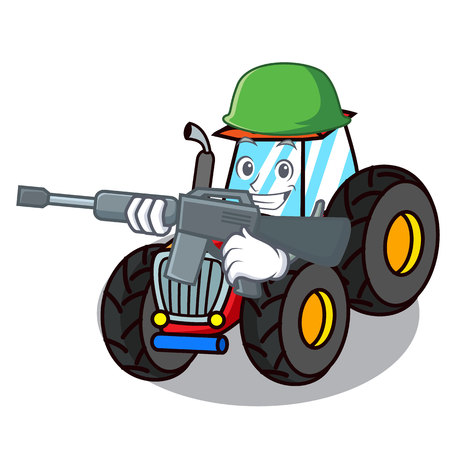 Army tractor character cartoon style vector illustration