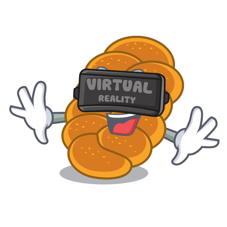 Virtual reality challah mascot cartoon style vector illustration