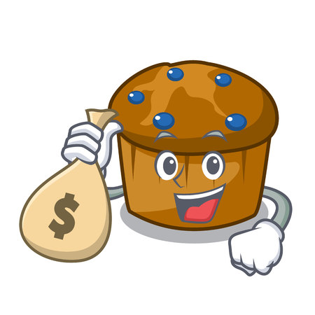 With money bag mufin blueberry character cartoon vector illustration