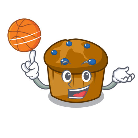 With basketball mufin blueberry character cartoon vector illustration