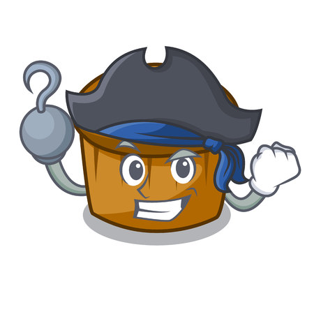 Pirate mufin blueberry character cartoon vector illustration