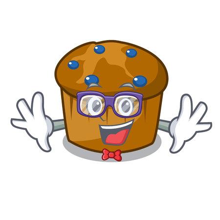 Geek mufin blueberry character cartoon vector illustration