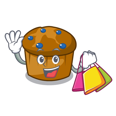 Shopping mufin blueberry character cartoon vector illustration