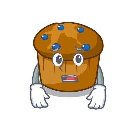 Afraid mufin blueberry mascot cartoon vector illustration