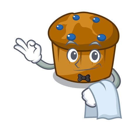 Waiter mufin blueberry mascot cartoon vector illustration