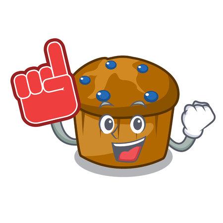 Foam finger mufin blueberry mascot cartoon vector illustration