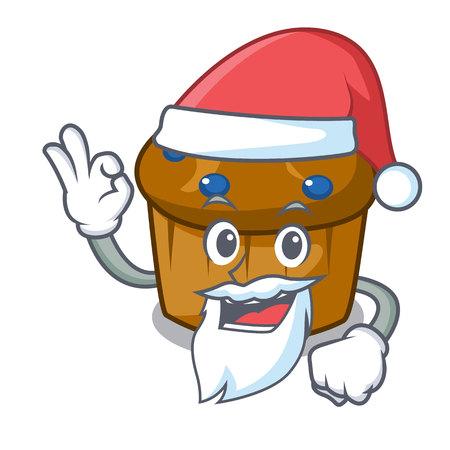 Santa mufin blueberry mascot cartoon vector illustration