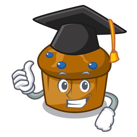 Graduation mufin blueberry character cartoon vector illustration Illusztráció