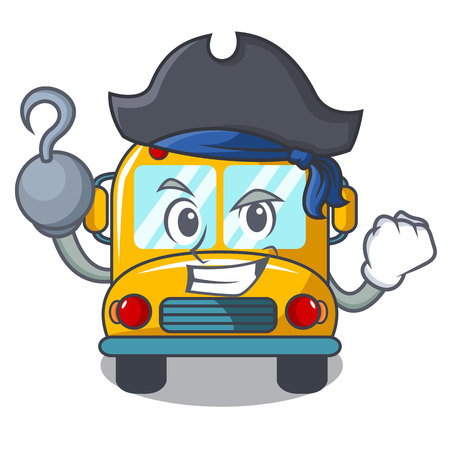 Pirate school bus character cartoon vector illustration