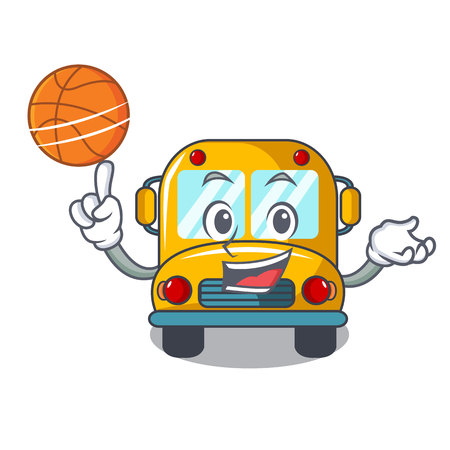 With basketball school bus character cartoon vector illustration