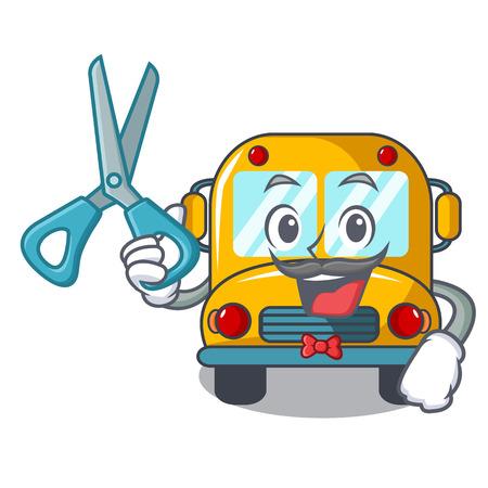 Barber school bus character cartoon vector illustration Stock Illustratie