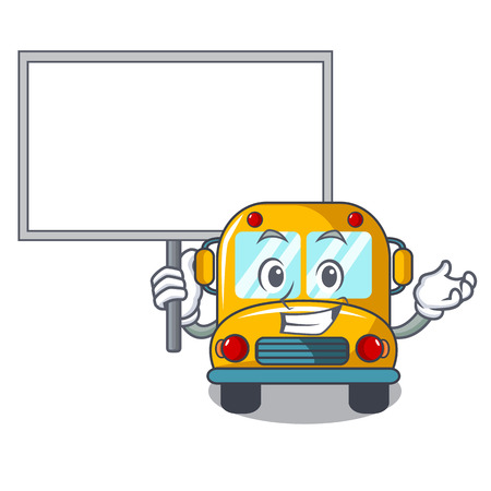 Bring board school bus character cartoon vector illustration