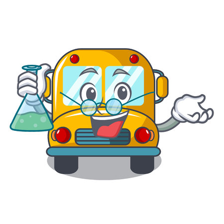 Professor school bus character cartoon vector illustration