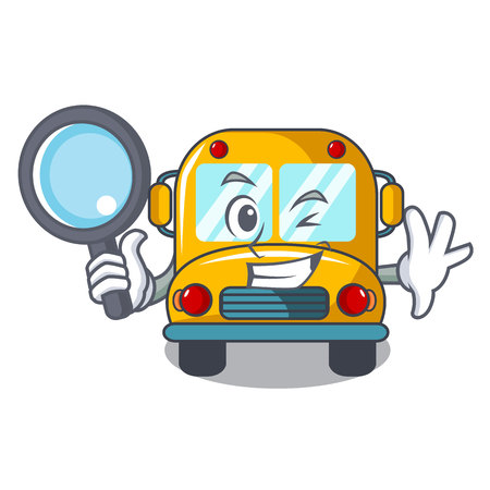 Detective school bus character cartoon vector illustration