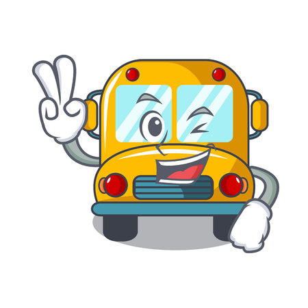 Two finger school bus character cartoon vector illustration Çizim