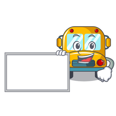 With board school bus character cartoon vector illustration