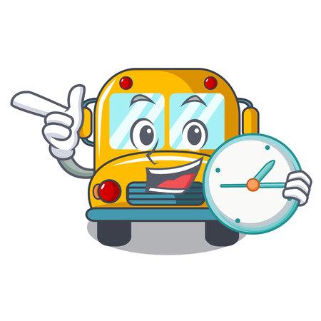 With clock school bus character cartoon vector illustration