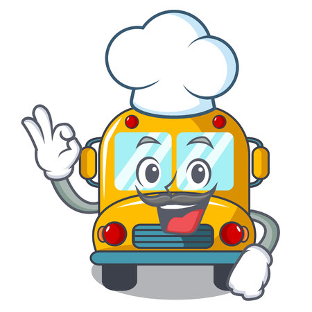 Chef school bus character cartoon vector illustration Illustration