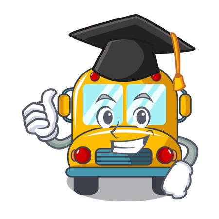 Graduation school bus character cartoon vector illustration