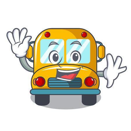 Waving school bus character cartoon vector illustration