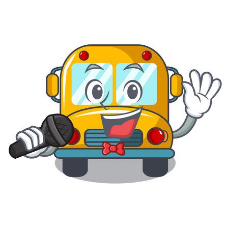Singing school bus mascot cartoon vector illustration Illustration