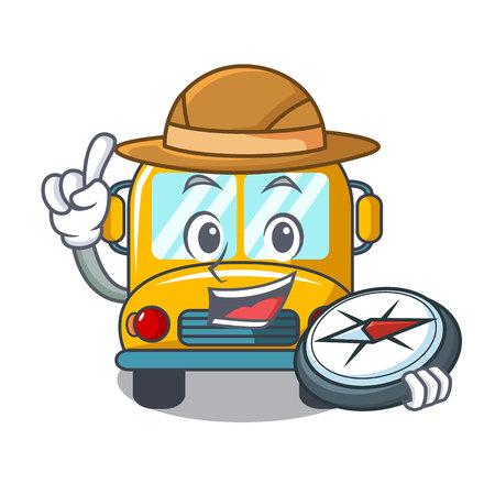 Explorer school bus mascot cartoon vector illustration