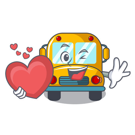 With heart school bus mascot cartoon vector illustration Illustration
