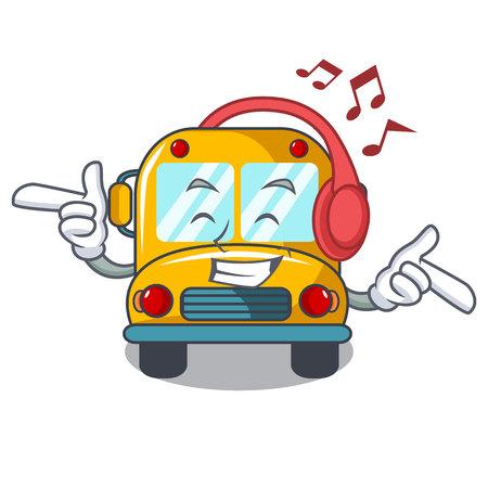 Listening music school bus mascot cartoon vector illustration Çizim
