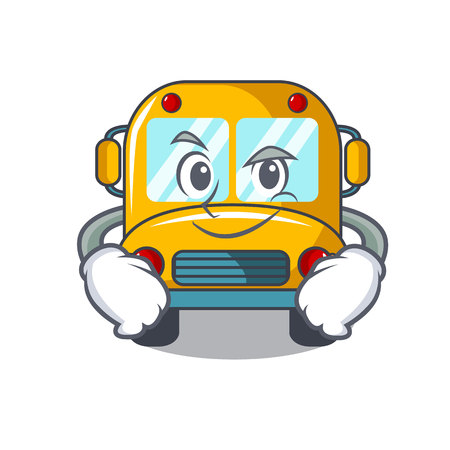 Smirking school bus character cartoon vector illustration