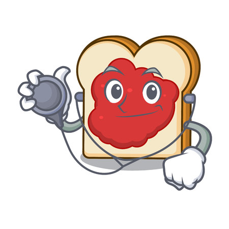 Doctor bread with jam character cartoon vector illustration