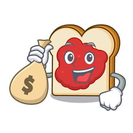 With money bag bread with jam character cartoon vector illustration