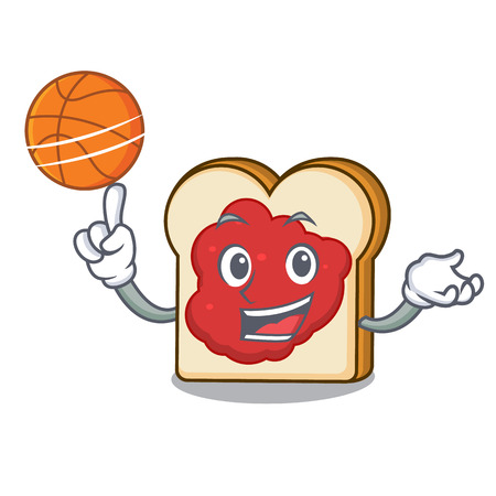 With basketball bread with jam character cartoon vector illustration