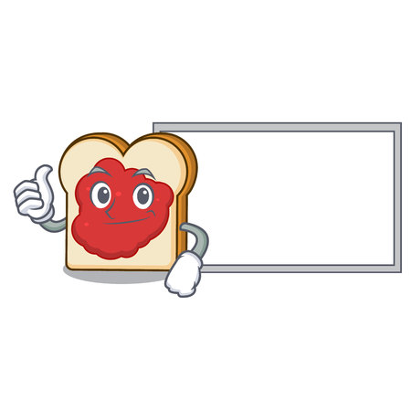 Thumbs up with board bread with jam character cartoon vector illustration