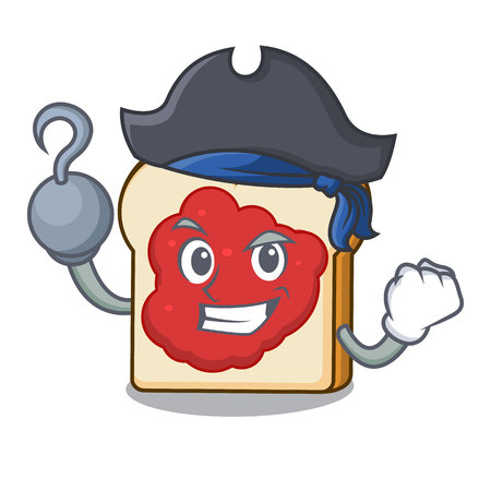 Pirate bread with jam character cartoon vector illustration