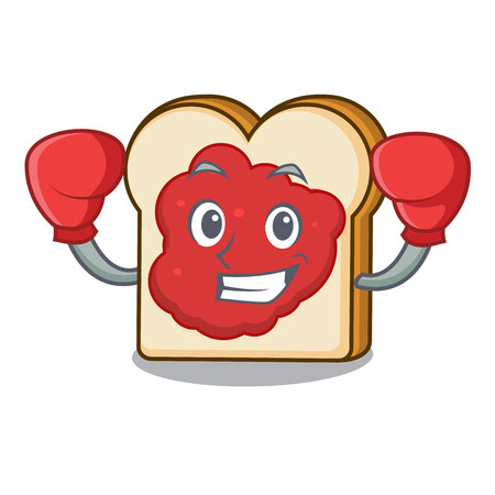 Boxing bread with jam character cartoon vector illustration