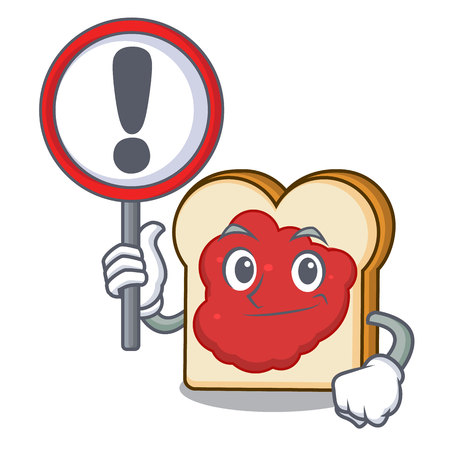 With sign bread with jam character cartoon vector illustration
