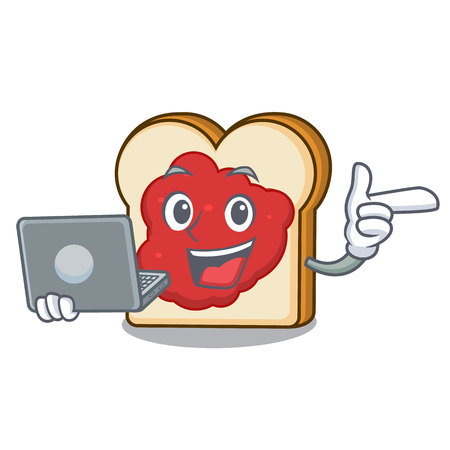 With laptop bread with jam character cartoon vector illustration
