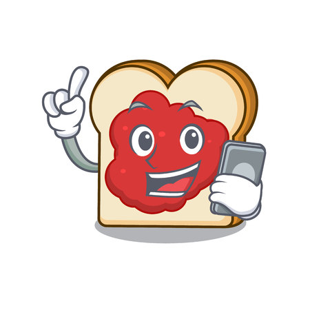 With phone bread with jam character cartoon vector illustration