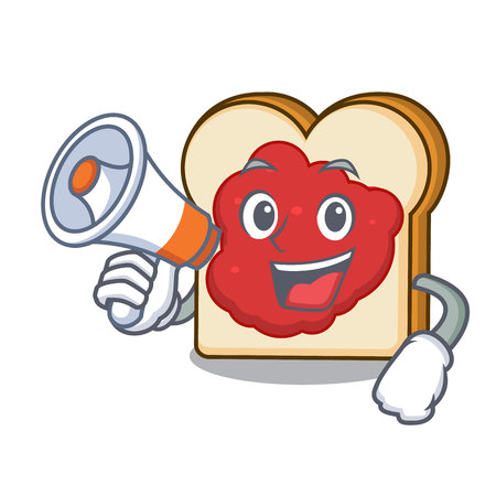 With megaphone bread with jam character cartoon vector illustration