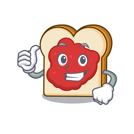 Thumbs up bread with jam character cartoon vector illustration