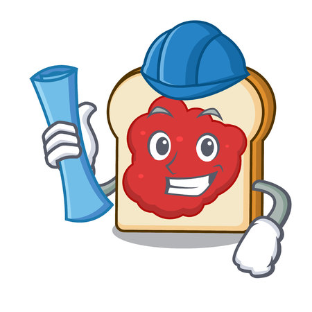 Architect bread with jam character cartoon vector illustration