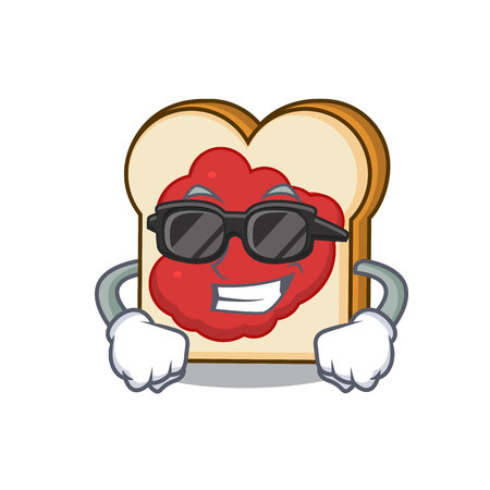 Super cool bread with jam character cartoon vector illustration