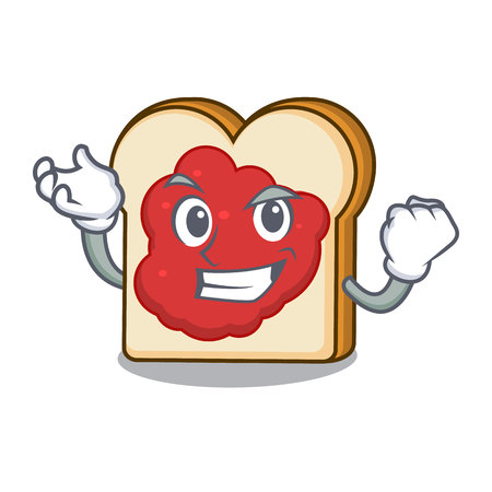 Successful bread with jam character cartoon vector illustration