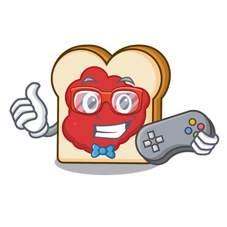 Gamer bread with jam mascot cartoon vector illustration