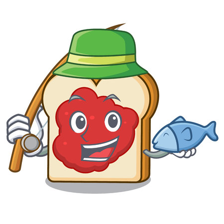 Fishing bread with jam mascot cartoon vector illustration Ilustração